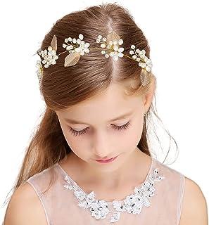 IYOU Boda Perla Fuente Oro Sale de Vid de Pelo Niñas de las Flores Princesa Cumpleaños Venda Accesorios para el Cabello po...