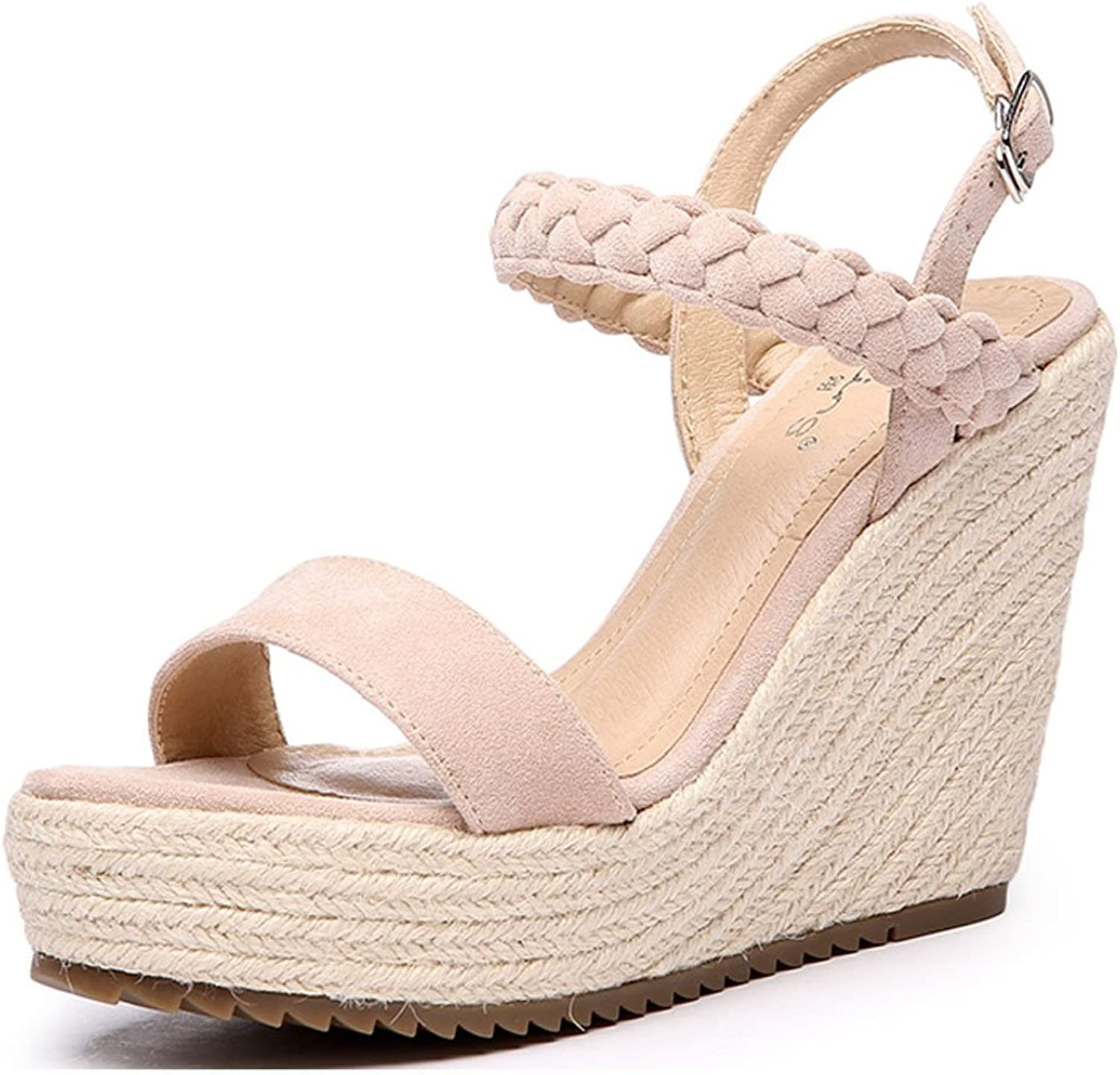 Summer Women Wedge Sandals Elegant Braided Hemp Rope Platform High Heels Casual and Comfortable Women's shoes (color   Nude color, Size   35)