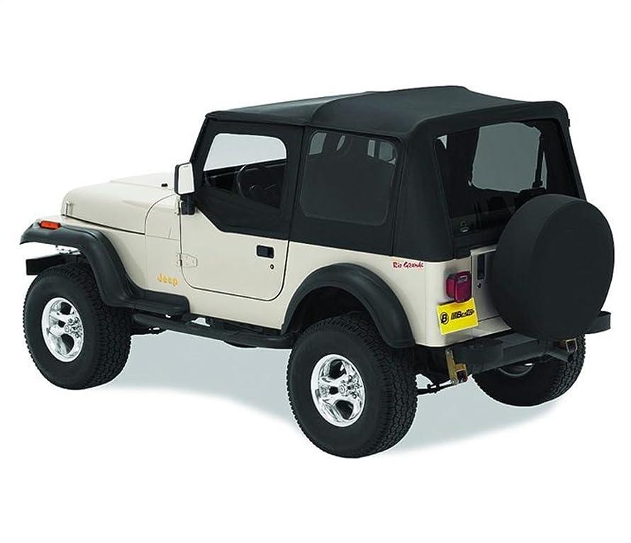 Bestop 51120-15 Black Denim Replace-A-Top Soft Top Clear Windows w/Upper Door Skins for 1988-1995 Jeep Wrangler