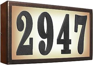 Qualarc SRST-AB60-BRZ Serrano Low Voltage Rust Free Galvanized Steel Rectangular Lighted Address Plaque with 4-Inch Black Polymer Numbers Bronze