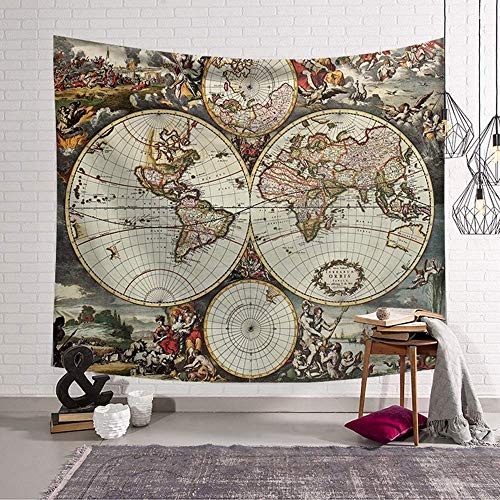 Enhome Tapiz Pared Decoracion Grande, Mapa del Mundo Hippie Tapicería Colgante De Pared Tapices Decoración Pared Dormitorio Sala De Estar Luces Led (Cultura Europea,200 * 150cm)