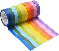 Cinta de colores, 10 rollos de cinta adhesiva para álbumes de recortes, cinta adhesiva de papel de arcoíris para etiquetar manualidades, rollo de cinta para regalo de niña