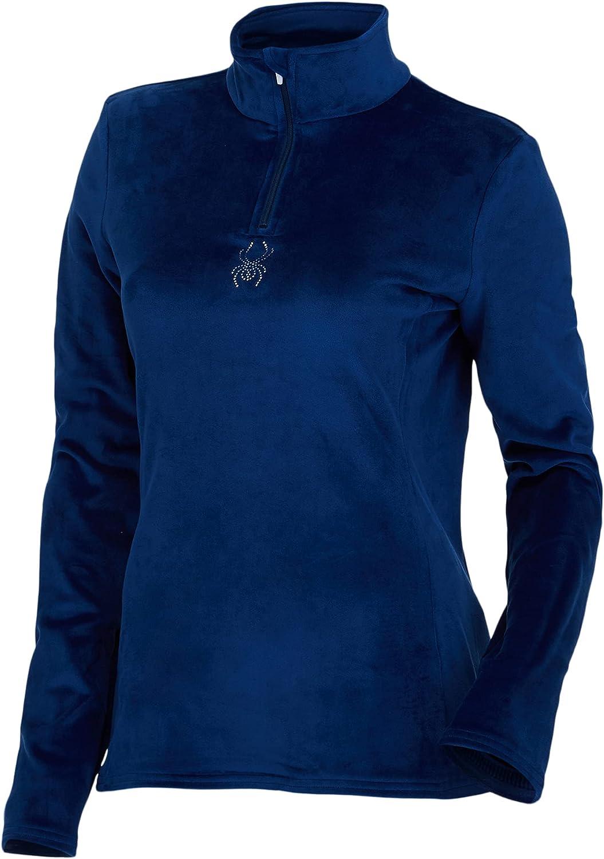 Spyder Women's Shimmer Bug Long Sleeve Half Zip T-Neck Fleece Top