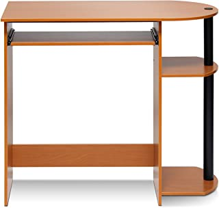 Furinno Simplistic Easy Assembly Computer Desk, With Keyboard Tray, Light Cherry/Black