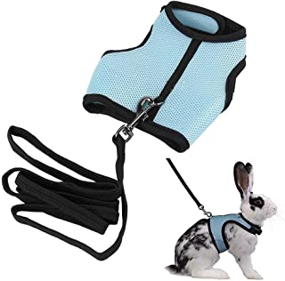 Adjustable Soft Harness with Elastic Leash Breathable Mesh Nylon Fabric for Rabbits Small Animals Bunny Hamsters Cats