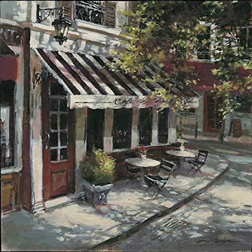 Rahmen-Kunst Keilrahmen-Bild – Brent Heighton: Wine Cafe Leinwandbild Bistro Strasse Idylle Nostalgie Paris