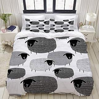 Big horn deer Parure de lit Adulte,Housse de Couette,Motif Mignon Textures Graphiques Arrière-Plans de Moutons,1 Housse de...