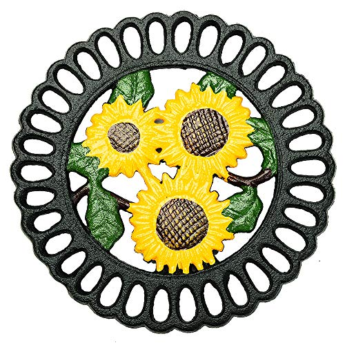 Sungmor Heavy Duty Gietijzeren Trivet, Decoratieve Schilderij Driepersoonskamer voor Keuken of Eettafel, 7.5x7.5 Inch - Rond met Vintage Shape A_Sunflower