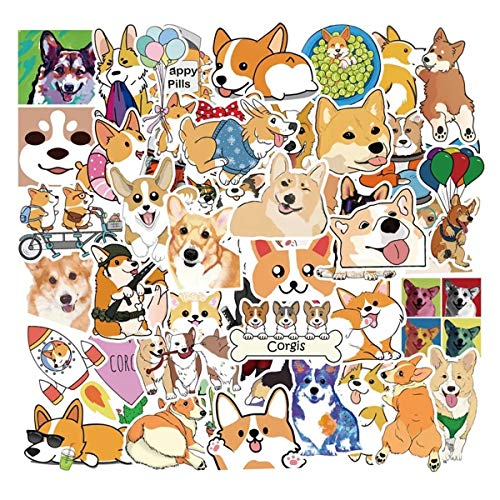 50 PCS Corgi Stickers for Water Bottles Cute Dog Stickers for Teens Kids Girls- Perfect for Waterbottle Laptop Phone Hydro Flask Motorcycle Bicycle Skateboard Luggage Decal Graffiti Patches (Corgi)