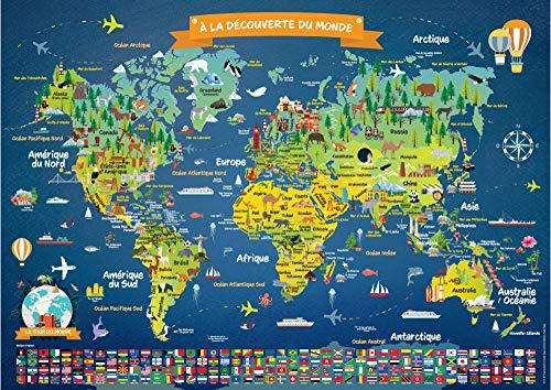 Poster Carte du Monde pour Enfants en Français | Grand Planisphère Mural Illustré | Noms des Pays, Drapeaux |...