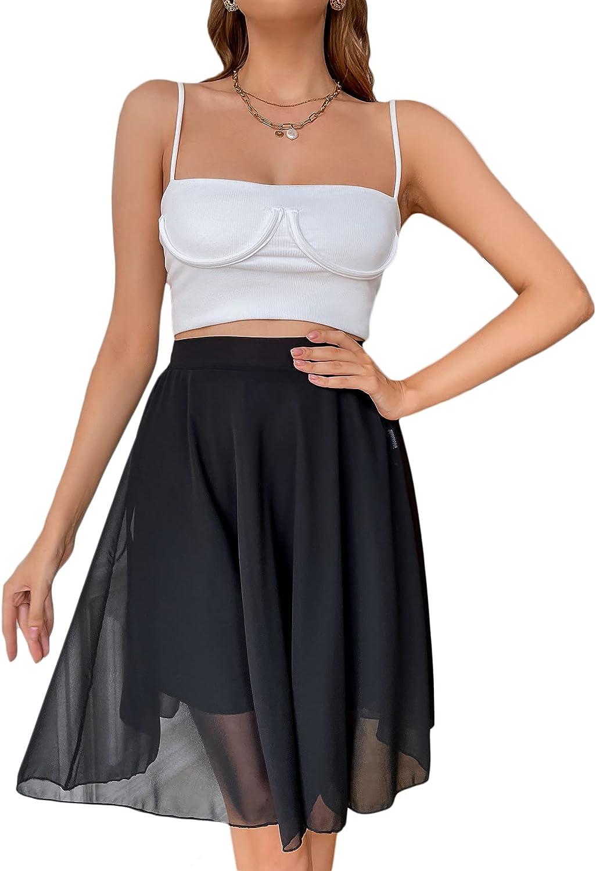 Milumia Women's Casual Sheer Elastic Waist Solid A Line Flowy Knee Length Skirt