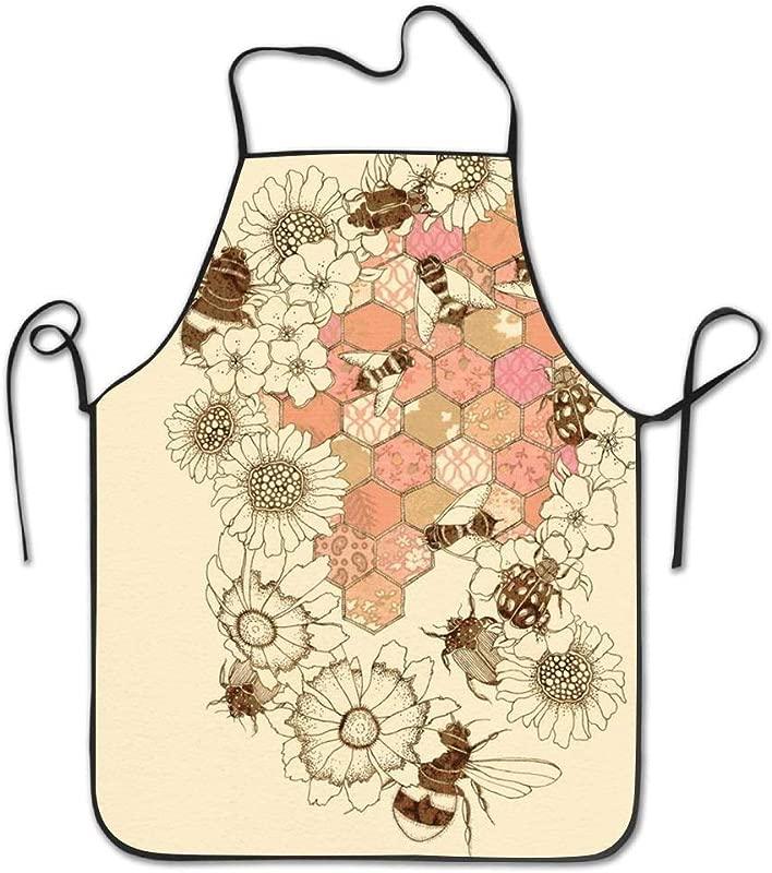 Jbralid Bib Honeycomb Bee Honeys Towel Funny Apron For Kitchen Garden Cooking Grilling Great Gift Creative Design Waterproof Pinafore