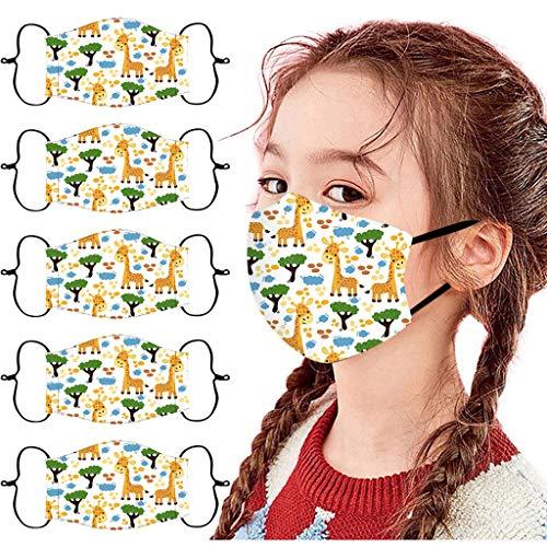5 StüCk Mundschutz Kinder Waschbar Baumwolle Cartoon Druck Verstellbarer HäNgendes Ohr Staubschutz, Atmungsaktive Waschbar Bandana Halstuch FüR Jungen Und MäDchen