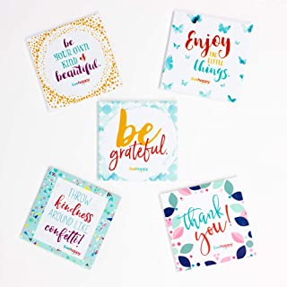 Live Happy Self Stick Notes, 3 inch x 3 inch, 5 Pads/Pack, 50 Sheets/Pad (5 Inspirational/Encouraging Messages on Sticky Notes)