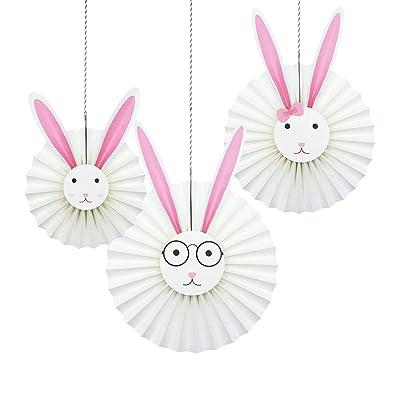 NICROLANDEE DIY Rabbit Hanging Paper Fan Easter...