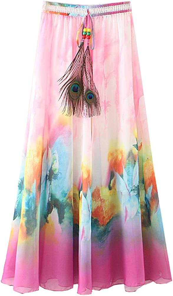 Wicky LS Women's Chiffon Skirt Bohemian Printing Long Casual Skirt Maxi Skirt