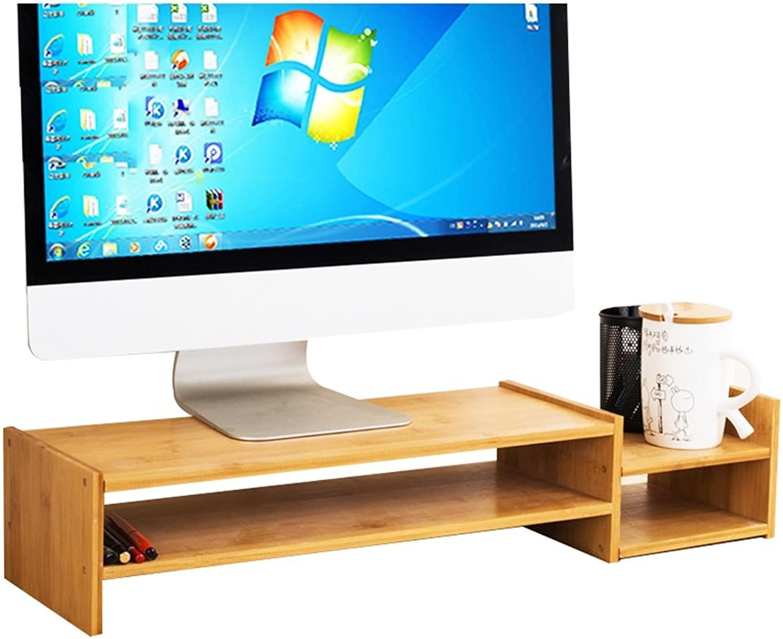 Mai Bamboo Wood Computer Monitor Height Bracket, Desktop Storage Rack Size 68  18.5  13cm (color   1 )