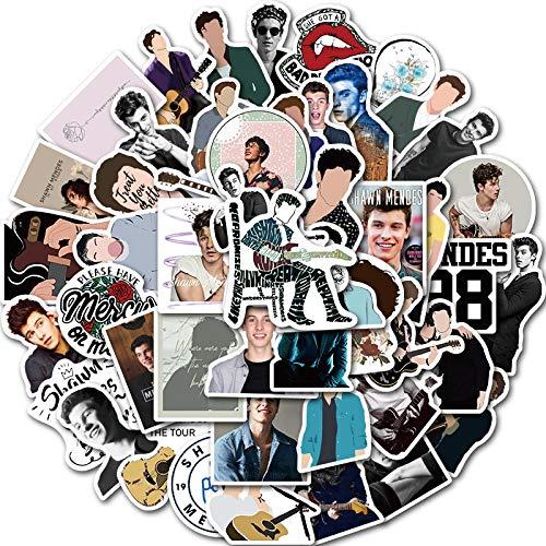 WYZNB Pegatinas de dibujos animados de Shawn Mendes con diseño de graffiti para equipaje o portátil, impermeable, 50 hojas