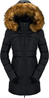 CHERFLY Women's Cotton Winter Coat Thicken Warm Long Jacket with Fur Trimmed Hood