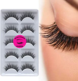4a0c29249dd DAODER 5 Pairs 3D Mink Eyelashes False Lashes Long Extension Reusable  Handmade Natural Look Faux Mink