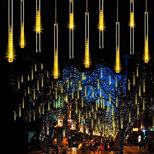 LED Meteor Shower Solar Lights Outdoor, Meteor Shower Lights 30cm 10 Tubes 360LEDs Falling Raindrop Cascading Decorative String Lights Waterproof for Tree Garden Ourdoor Indoor Decoration (Warm White