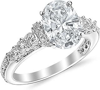 1.86 Carat Designer Four Prong Round Diamond Engagement Ring (I-J Color, VS2 Clarity Center Stones) - Oval Shape