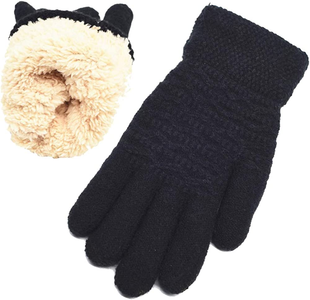 Women's Winter Warm Gloves Womens Thermal Cable Knit Wool Fleece Lined Mittens for Cold Weather