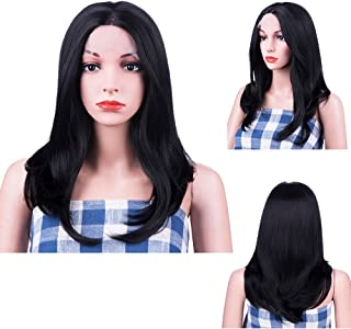 MelodySusie Black Lace Front Wigs for Women, 20 Inches Glueless Middle Part Synthetic Hair Wigs Half Hand Tied Heat Resistant Cosplay Costume Daily Party Wig with Free Wig Cap, Black