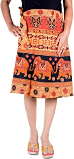 Sttoffa Cotton Women Beach Dress Knee Length Plus Size Wrap Round Plain Club Wear Orange