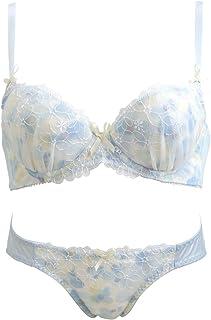 (パリシェ)Palissee フラワー刺繍×水彩プリント ブラショーツセット EF 大きいサイズ グラマー