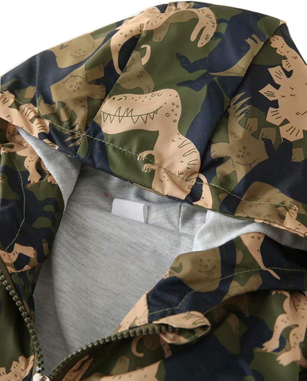 Banibear Boys Hooded Dinosaur Jacket Windbreaker Outerwear