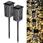 Solar Flame Lights - GOGOMY Solar Lights Outdoor Garden Torches Lights 96 LED Flickering Flame Dusk to Dawn Auto On/Off…
