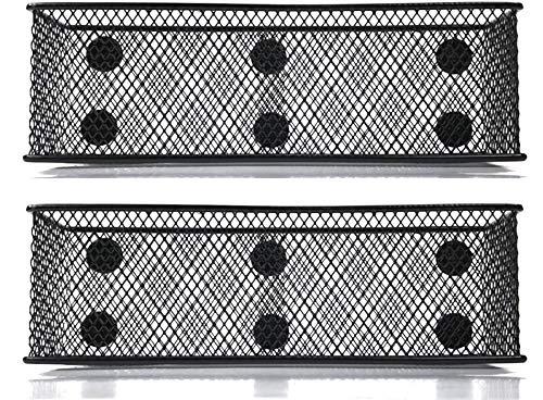 Magnetic Locker Basket Magnetic baskets for Refrigerator Magnetic Pen/Pencil Holder Locker Accessories - 7.8' Wide - 6 Strong Magnets - 2 Pack - Black