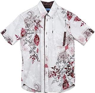 [MAJUN (マジュン)] 国産シャツ かりゆしウェア アロハシャツ 結婚式 メンズ 半袖シャツ ボタンダウン シーサーグワー幾何