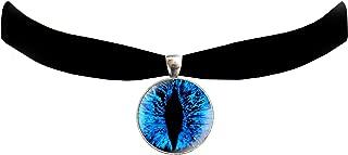 Victorian Vault Cat Dragon Eye Black Velvet Choker Steampunk Gothic Pendant Necklace