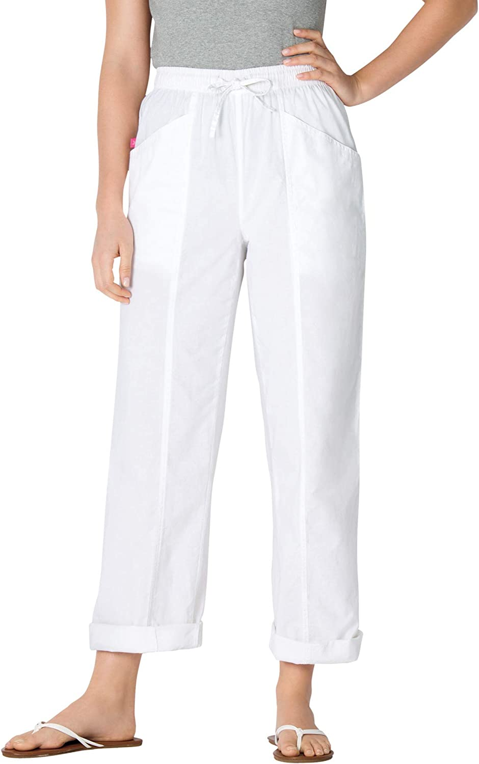 Woman Within Women's Plus Size Petite Cotton Pants with Front Seam