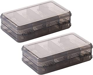 2Pcs Grey Double Layer Plastic Jewelry Box Organizer Storage Container for Earrings, Necklaces, Rings, Bead, Fishing Tackle, Jewelry, Pins, Hair Clips, Screws, Small Items Craft Box Case (10 Grid)