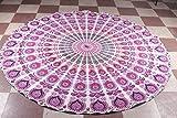 Sophia-Art Mandala Tapiz de Tiro de Playa Redondo Hippy Boho Mantel de algodón Gitano Flor de Loto Algodón Redondo Toalla de Playa al Aire Libre Roundie (Pink Peacock Feather)