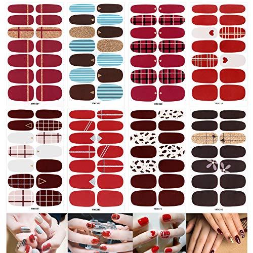 VETPW 8 Blatt Nagelsticker mit Nagelfeilen, Selbstklebend Nagelfolie Nagelaufkleber Abziehbilder, Nagelkunst Maniküre Sticker Nageldesign DIY Dekoration