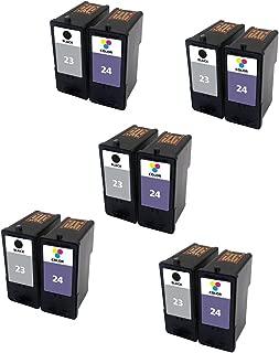 ESTON Combo Set for Lexmark Ink Cartridges 23 24 Black/Color (10Pack) Fit for Lexmark Printer X3430 X3530 X4530 X4550