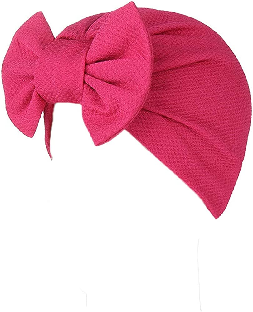 Telamee Women Stretchy Indian Turban Hat Cloche Bow Headwrap Hair Cover Cap Band