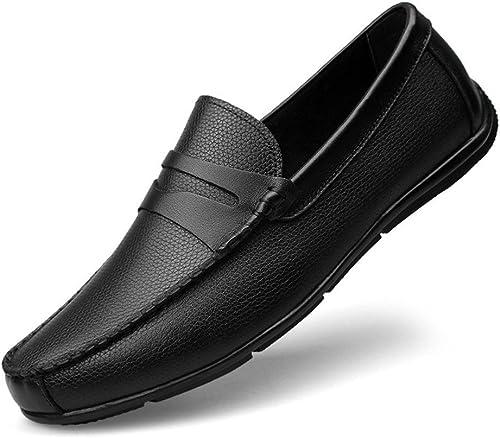 Shufang-chaussures, Chaussures Mocassins Homme 2018, Mocassins de de Conduite pour Hommes Strap Decor Slip-on Leisure Penny Cuir doublé Mocassins en Caoutchouc Souple Semelle (Couleur   Noir, Taille   47 EU)  marque célèbre