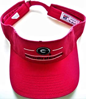 Georgia UGA Bulldogs Red Adult Adjustable Visor Cap Hat with Oval G Logo and School Name