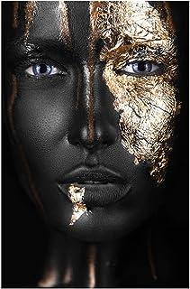 Nordique Toile Peinture Mur Art Affiche Art Africain Homme Noir et Or Femme Hoom Décor Peinture Abstraite Créativité Figur...