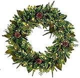 Bethlehem Lighting GKI Pre-Lit PE/PVC Christmas Wreath with 100 Clear Mini Lights, 30', Green River Spruce