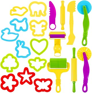 Toyvian 1 Set/20pcs Kids Clay Tools, Plastic Art Clay and Dough Playing Tools Set with Models and Mold