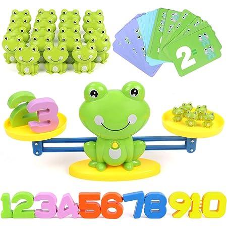 GILOBABY カエル 天秤 数字の基礎を覚える 算数 足し算 引き算 色を識別する 女の子 おもちゃ 男の子 おもちゃ 子供 誕生日プレゼント 6歳以上