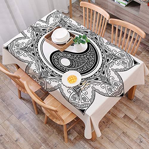 Mantel Antimanchas Rectangular Impermeable,Ying Yang, caracteres asiaticos de YIn Yang para movimiento y armonia en ,Manteles Mesa Decorativo para Hogar Comedor del Cocina,(140 x 200 cm/55*78 pulgada)