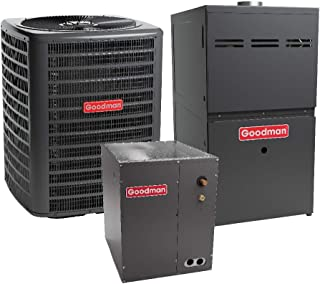 Goodman 4 Ton 16 SEER Air Conditioner GSX160481, Coil CAPF4961D6, 80,000 BTU 80% AFUE Upflow Gas Furnace GME80805DX