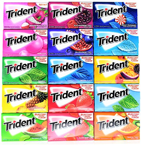 Trident Sugar Free Chewing Gum Variety Pack of 15 (Assorted Flavors)
